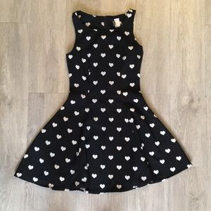 Black and White Repeating Heart Fit & Flare Dress